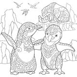 Zentangle stylized penguins and polar bears. Coloring page of emperor penguins, polar bears and seagulls. Freehand sketch drawing for adult antistress coloring stock illustration