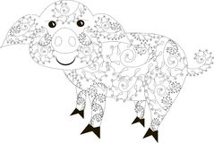 Zentangle stylized pig black and white hand drawn Stock Image