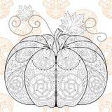 Zentangle stylized  Pumkin on Skull seamless pattern for Hallowe Stock Photos