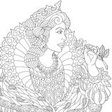 Zentangle stylized queen. Stylized young beautiful queen (princess) in a crown is holding rose flower. Freehand sketch for adult anti stress coloring book page Stock Photography
