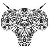Zentangle stylized ram head vector illustration Royalty Free Stock Photo