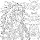 Zentangle stylized red indian chief (redskin man) Stock Photography