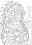 Zentangle stylized red indian chief Stock Photos