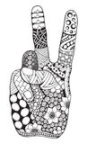 Zentangle stylized retro vintage hand victory sign ornate vector Stock Image