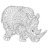 Zentangle stylized rhino. Zentangle stylized cartoon rhino (rhinoceros), isolated on white background. Hand drawn sketch for adult antistress coloring page, T stock illustration