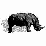 Zentangle stylized rhinoceros illustration. Hand Drawn doodle  illustration isolated on white background. Royalty Free Stock Photography