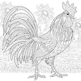 Zentangle stylized rooster (cock). Zentangle stylized cartoon rooster (cock) and sun flowers. Hand drawn sketch for adult antistress coloring page, T-shirt Royalty Free Stock Image