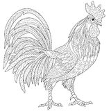 Zentangle stylized rooster (cock). Zentangle stylized cartoon rooster (cock),  on white background. Hand drawn sketch for adult antistress Royalty Free Stock Images