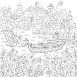 Zentangle stylized rural landscape. Coloring book page of rural landscape, flower meadow, lake, farm house, ducks, kitten, swans, horses, frog, storks. Freehand Royalty Free Stock Images
