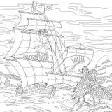 Zentangle stylized sailing ship Royalty Free Stock Images