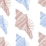 Zentangle stylized sea cockleshell seamless pattern. Hand Drawn Stock Image