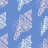 Zentangle stylized sea cockleshell seamless pattern. Hand Drawn. Doodle vector illustration. Sketch for tattoo or makhenda. Seashell collection. Ocean life Royalty Free Stock Photos
