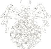 Zentangle stylized spider black and white hand drawn Stock Image
