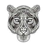 Zentangle stylized Tiger face. Hand Drawn doodle vector. Illustration  on white background. Sketch for tattoo or indian makhenda design Stock Photo