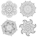Zentangle stylized tribal Arabic, Indian Mandala set.  Royalty Free Stock Image