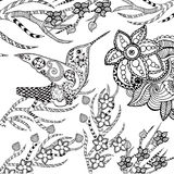 Zentangle stylized tropical bird in flower garden Stock Image