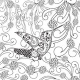 Zentangle stylized tropical bird in flower garden Stock Photo
