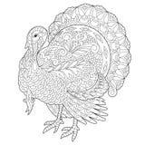 Zentangle stylized turkey bird Royalty Free Stock Photos