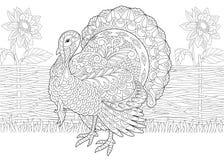 Zentangle stylized turkey and sunflowers Stock Photography