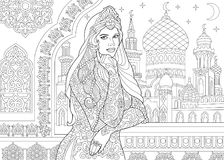 Zentangle stylized turkish woman. Coloring page of turkish woman. Islamic filigree decor, arabic mosque, crescent moons and stars on the background. Freehand Stock Images
