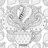 Zentangle stylized Сup of tea with steam on berries background Stock Images
