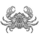 Zentangle stylized vector illustration crab Stock Photos