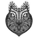 Zentangle stylized Wolf face Royalty Free Stock Photos
