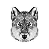 Zentangle Stylized Wolf Face. Hand Drawn Guata Doodle Vector Ill Royalty Free Stock Image