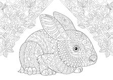 Zentangle stylized wonderland rabbit. Coloring page. Rabbit from wonderland and rose flowers. Freehand sketch drawing for adult antistress colouring book in Royalty Free Stock Photo