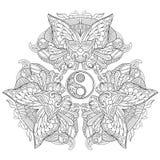 Zentangle stylized yin yang symbol. Set of three carnaval masks. Zentangle stylized cartoon symbol of yin yang with three balanced carnaval masks isolated on royalty free illustration