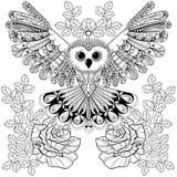 Zentangle stylizował Czarnej sowy z wzrastał dla dorosłego antego stresu col Obraz Stock