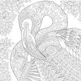 Zentangle stylizował flaminga royalty ilustracja