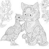 Zentangle stylizował kota i kaczki royalty ilustracja
