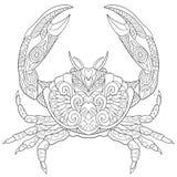 Zentangle stylizował kraba royalty ilustracja