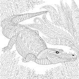 Zentangle stylizował krokodyla (aligator) royalty ilustracja
