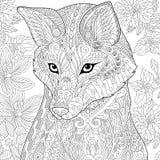Zentangle stylizował lisa royalty ilustracja