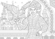 Zentangle stylizował ottoman sułtanu z jastrzębiem ilustracji