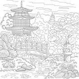 Zentangle stylizował pagodę ilustracja wektor