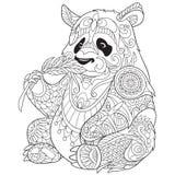 Zentangle stylizował pandy ilustracji