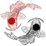 Zentangle stylizował ręka rysującej koi ryba Obraz Stock