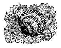 Zentangle stylizował seashell z doodle liśćmi i zawijasami Ręka Rysująca nadwodna wektorowa ilustracja Nakreślenie dla tatuażu ilustracja wektor
