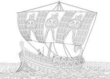 Zentangle stylizował starożytny grek galerę ilustracja wektor
