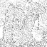 Zentangle stylizował wielbłąda royalty ilustracja