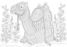 Zentangle stylizował wielbłąda i kwiatów ilustracja wektor