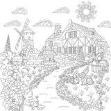 Zentangle stylizował wsi scenę ilustracja wektor