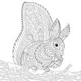 Zentangle stylizował wiewiórki Zdjęcia Stock
