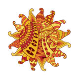 Zentangle sun vector symbol. Sun tribal doodle ornament. Colorful ethnic pattern. Royalty Free Stock Photos