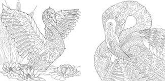 Zentangle svan- och flamingofåglar royaltyfri illustrationer