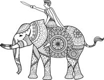 Zentangle sylized of warrior riding elephant coloring book for adult, cards, T- Shirt graphic, tattoo and other decorations Royalty Free Stock Image