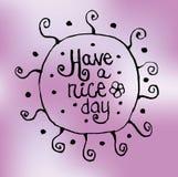 Zentangle teckning med modeller och önska en trevlig dag på en rosa bakgrund vykort utslagsplatsskjorta Royaltyfri Bild